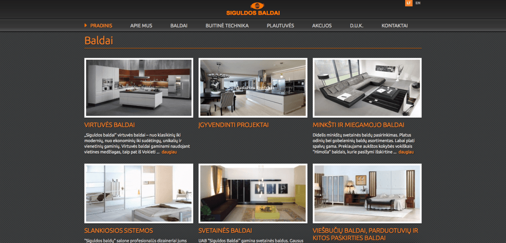 Siguldos Baldai website development and SEO campaign