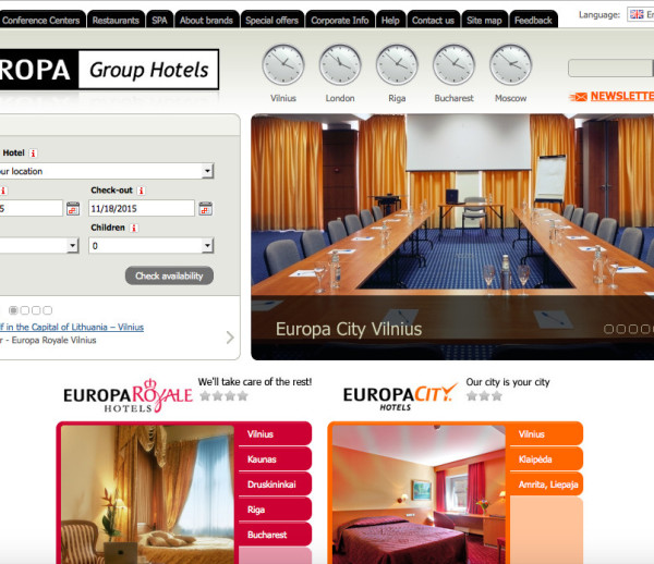 Europa Group Hotels website development
