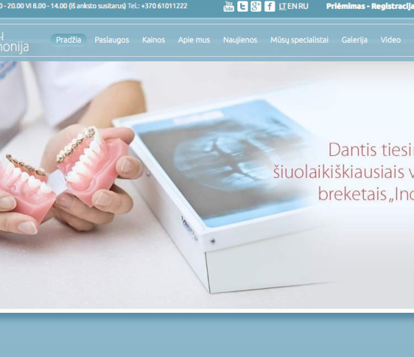 Dantu Harmonija dental clinic website development